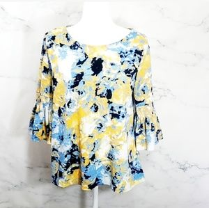 Yellow and Blue Floral Blouse